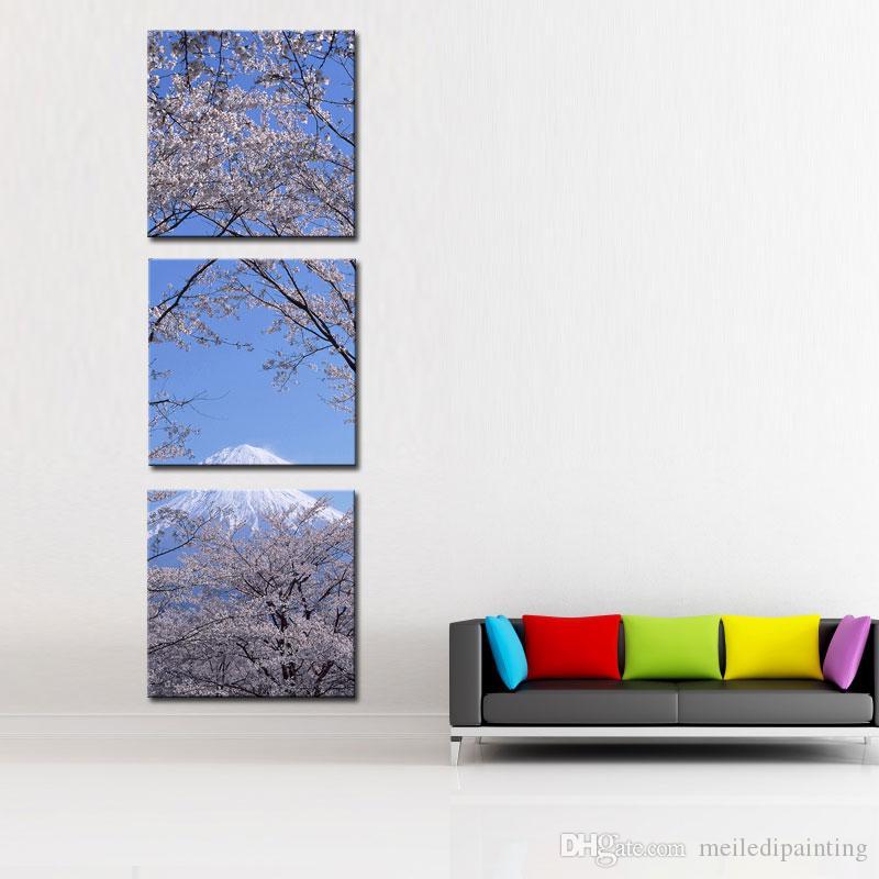 Stampa su tela Wall Art 3 pannello Pittura la decorazione domestica Picco del monte Fuji con Cherry Blossom Sakura In cielo blu Vista dal lago Kawaguchiko