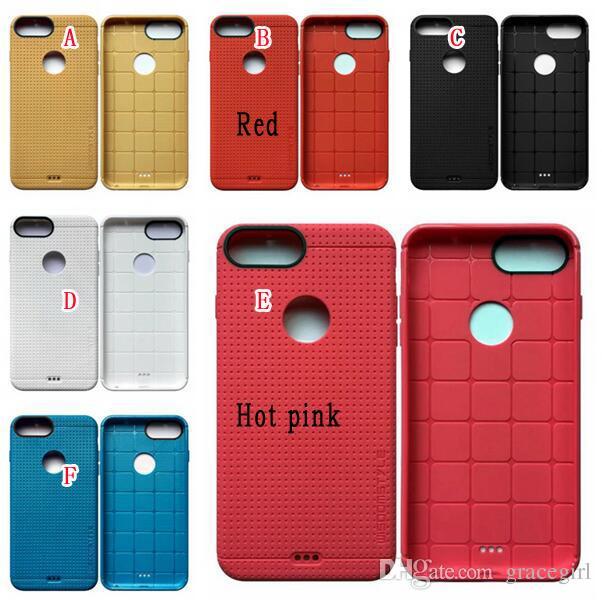 Para IPhone 7 Plus Iphone7 funda de TPU suave estilo delgado malla de punto de panal oficial malla cuadrada cubierta de goma agujero redondo piel del teléfono celular de lujo