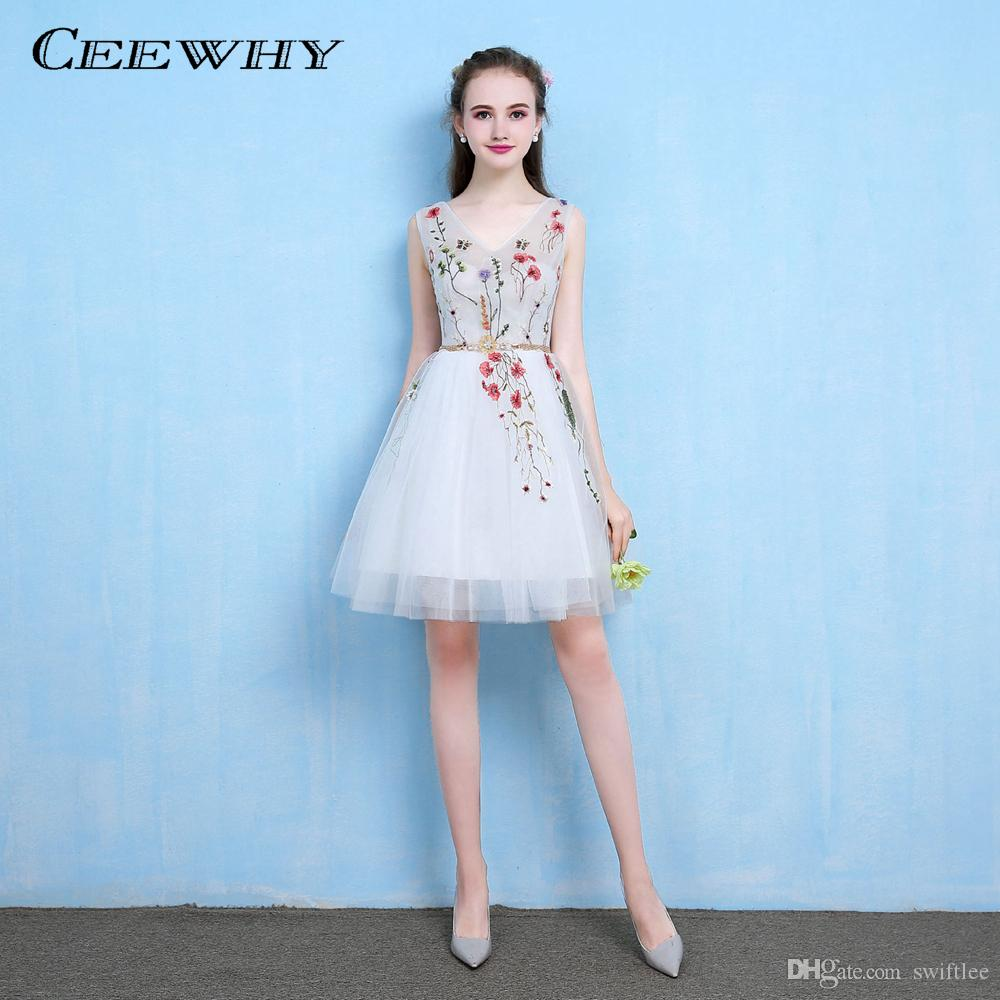 b30dfd6809493 CEEWHY Floral Embroidery Formal Party Dress for Girls Short Formal Party  Prom Dress Knee Length Cocktail Dresses Robe Cocktail