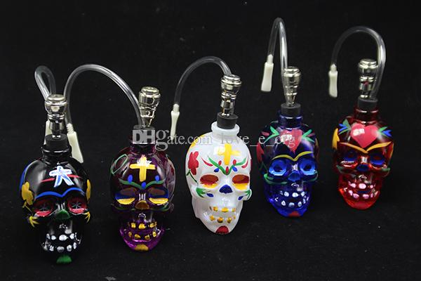 DHL Free Colorful Skull Head Glass Bong Popular Glass Hookah Pipe Durable Mini Shisha Tobacco Smoking Cheap Water Pipe Unique Design