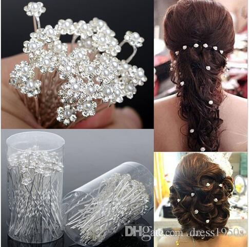 2018 al por mayor 40 unids accesorios de boda nupcial perla horquillas flor cristal perla rhinestone pines pines clips de dama de honor mujeres joyería de pelo