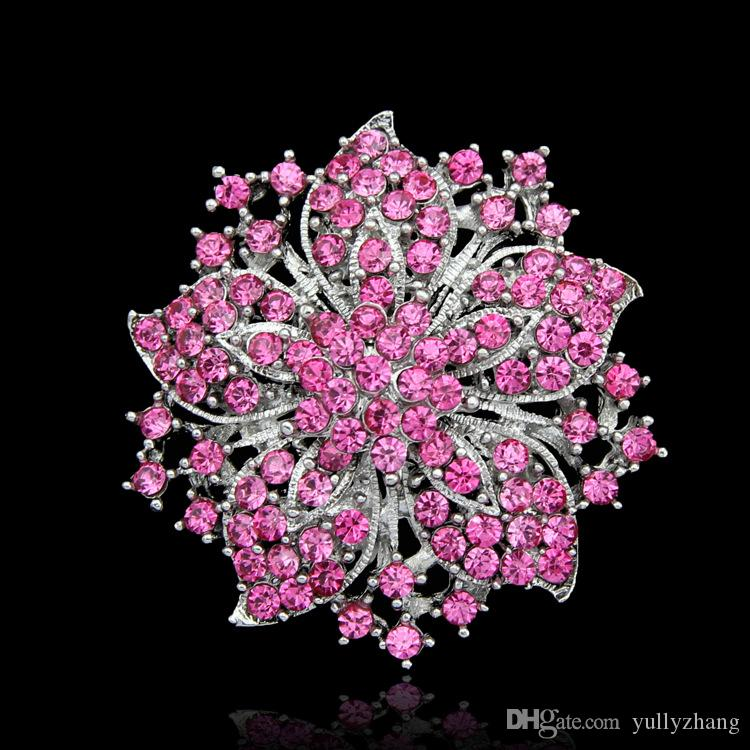 Jewelry Europe And The United States Jewelry Fashion Multicolor Big Flower Crystal Brooch For Women 2016 Wholesale Jewelry B004