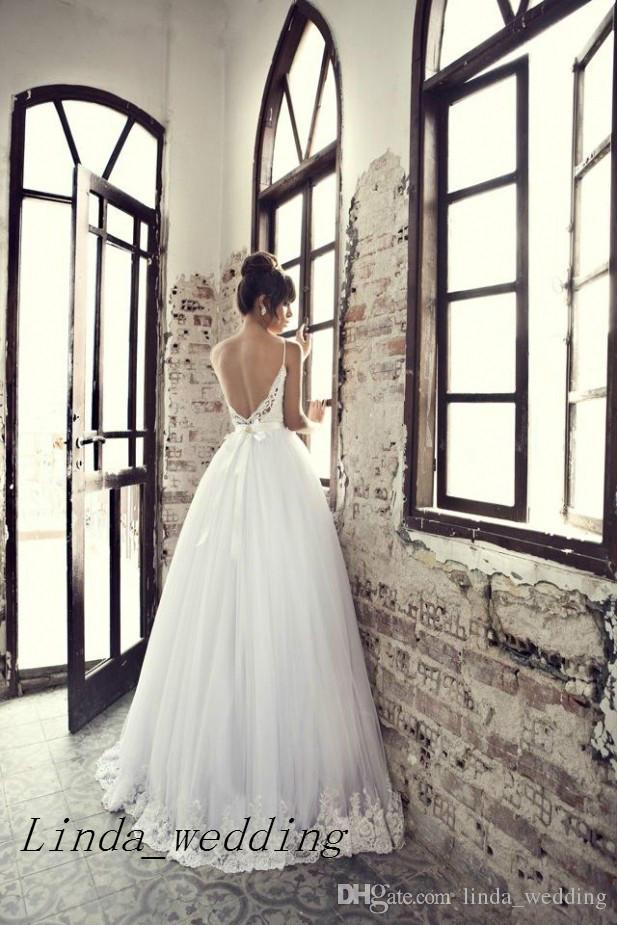 Frete grátis Julie Vino Vestidos de casamento New Design Querido Spaghetti Starp Lace Sem Costas Vestido de Noiva Vestido Mulheres