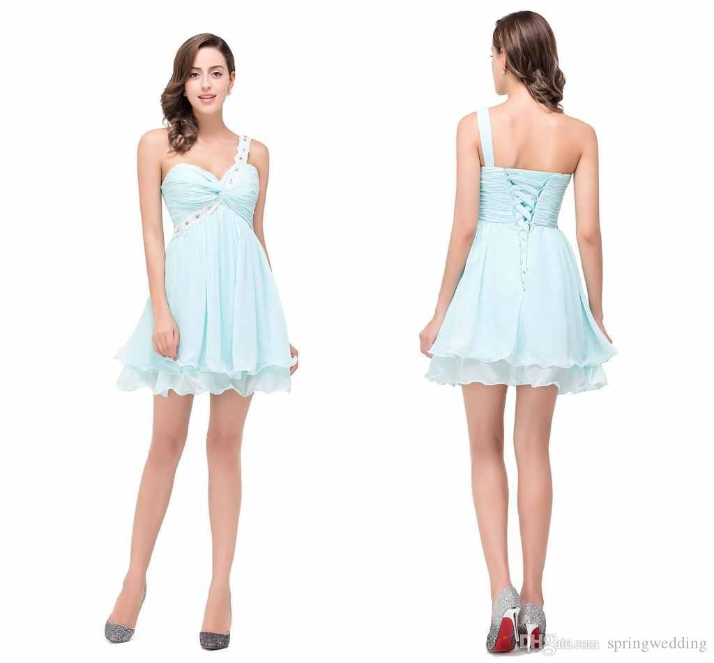 Light sky blue cheap maid of honor gowns 2016 one shoulder for Sky blue wedding guest dresses