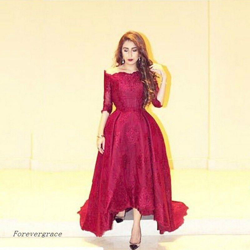 2017 Wine Red Long Evening Dress Dubai Kaftan With Seeves Dress Formal Event Gown Plus Size robe de soire vestido de festa longo