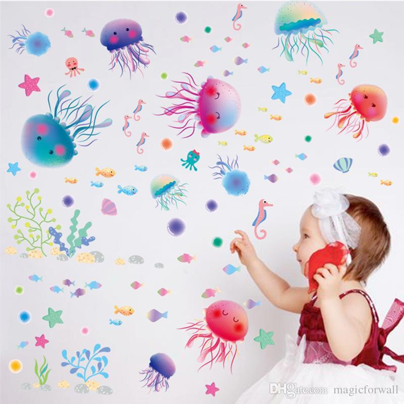 Jellyfish Underwater World Kids Room Nursery Wall Decor Bathroom Shower Room Wall Decal Sticker Home Decor Wall Applique Poster