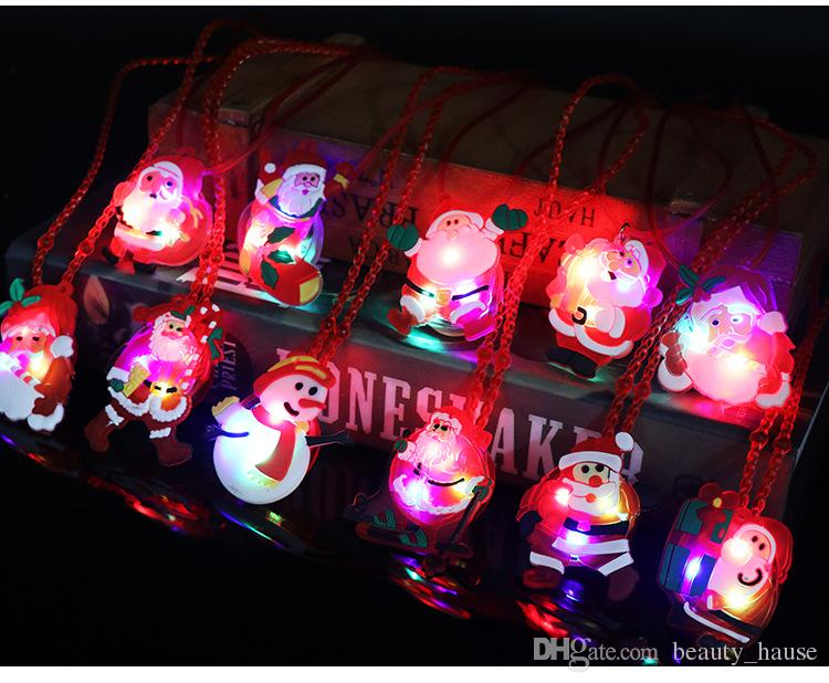 flashing light up christmas holiday necklaces for kids santa claus christmas tree decorations led xmas gift supplies party favors christmas decorations