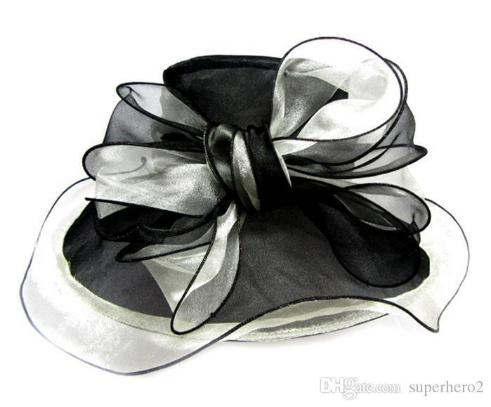 Women Fascinator Big Bowknot Oranza Gauze Hat Kentucky Derby Church Evening Dress Hat Cocktail Party Wide Brim Bridal Wedding cap Sun Hat