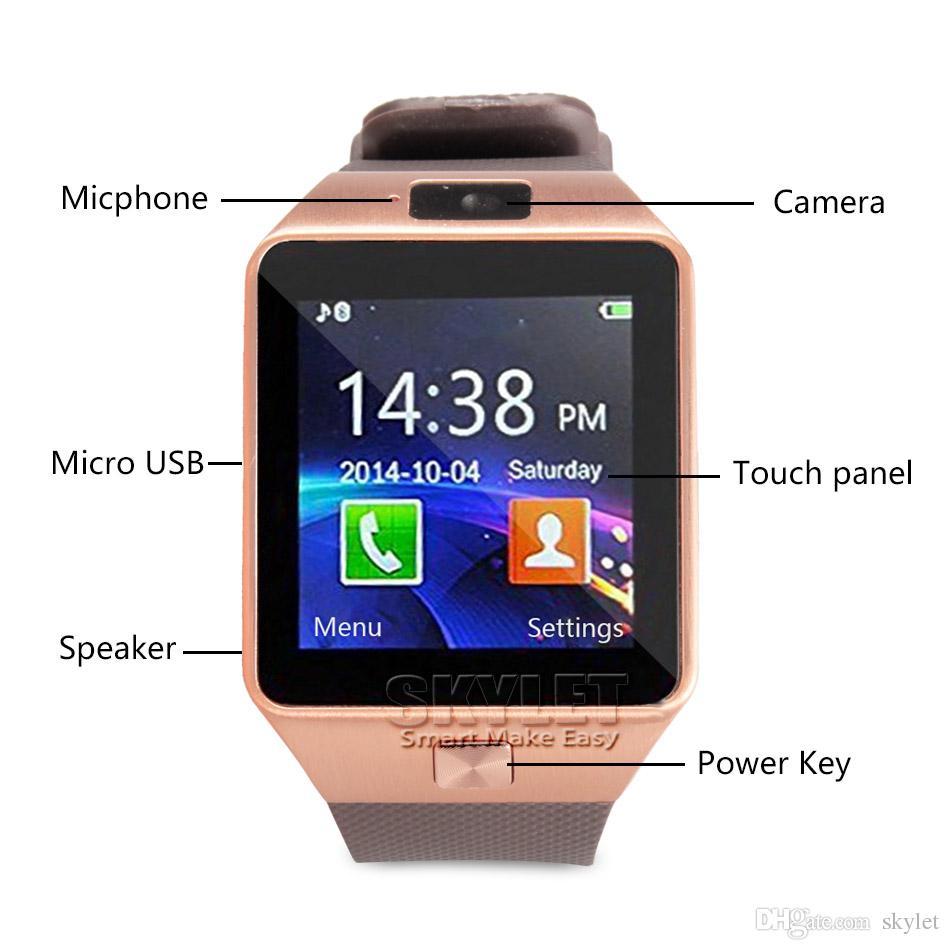 Inteligente reloj inteligente DZ09 pulsera de reloj de SIM Deporte inteligente Android para Android Celulares relógio inteligente con baterías de alta calidad