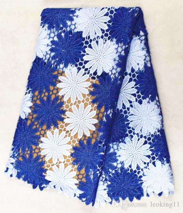 Beautiful white and royal blue flower pattern water soluble guipure lace embroidery african cord lace fabric for dress BW100-3