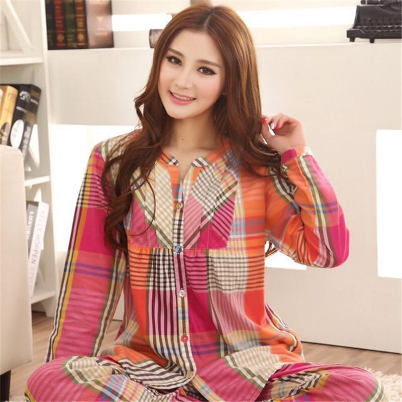 2018 Wholesale New Spring Autumn Women Cotton Pajamas Sets European And  American Style Plaid Pyjamas Long Sleeve Sleepwear Suit Leisrue Wear From  Victoriata ... 8dca7a4ca
