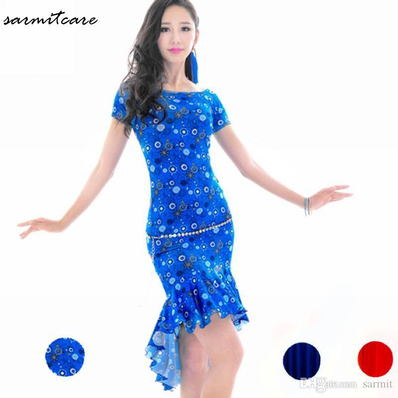 9588b7b579464 D107 - 3 Colors Short Sleeve Ruffled Hem Floral Print Women Latin Dance  Dress Samba Dance Costumes Tango Salsa Dress Cha cha Samba Costume
