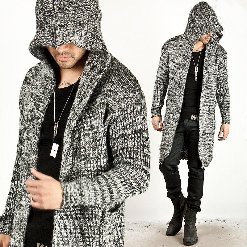 2018 Trendy Fashion Mens Warm Sweaters Cardigan Hooded Knitted ...