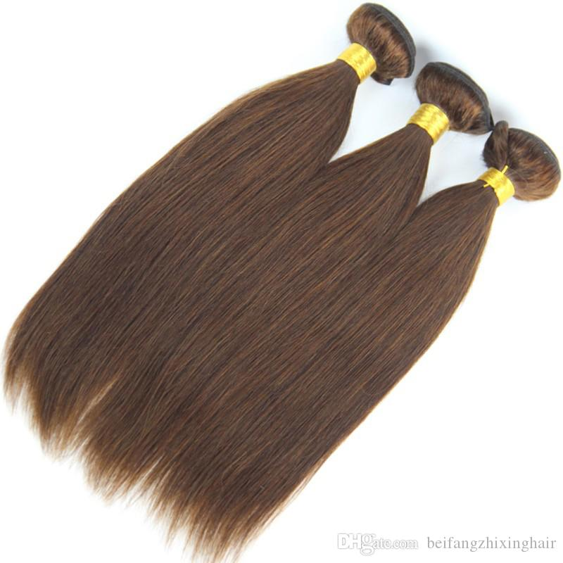 Grade 7A!!!#4 Middium Brown Brazilian Virgin Remy Hair Silky Straight Weave Chocolate Mocha Brazilian Straight Human Hair Bundles