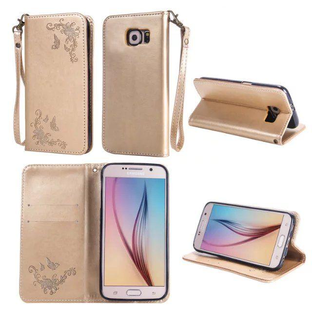 Manyetik Emmek Flip Deri Kılıf Samsung Galaxy S7 S6 Kenar Artı S4 S5 NOTE4 NOTE5 Bling Lüks Çiçek Askı Cüzdan Telefon Kılıfı Kapak 1 adet