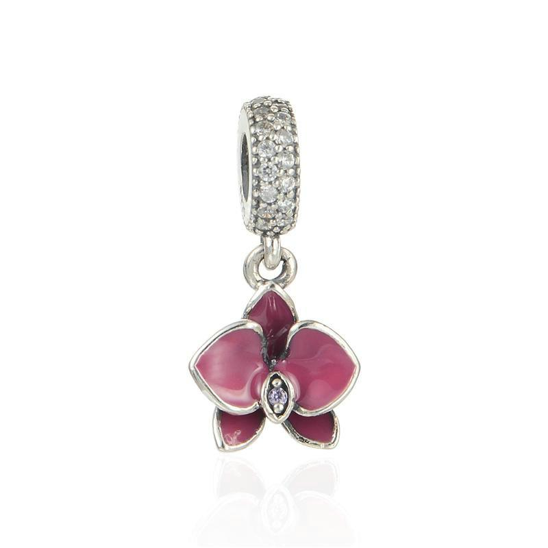b3a384e0a Antique Silver Enamel Flower Charms Jewelry Wholesale S925 Sterling Silver  Fits DIY Pandora Style Bracelet Hot Sale LW514H9 925 Sterling Silver Flower  ...