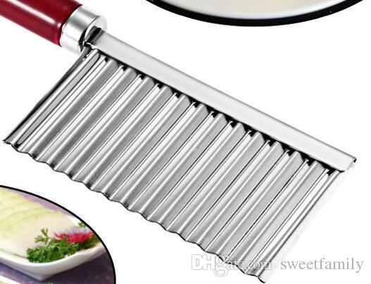 Potato Crinkle Ondulado Afiada Faca De Cozinha Em Aço Inoxidável Gadget de Frutas De Corte De Frutas Fatiadores