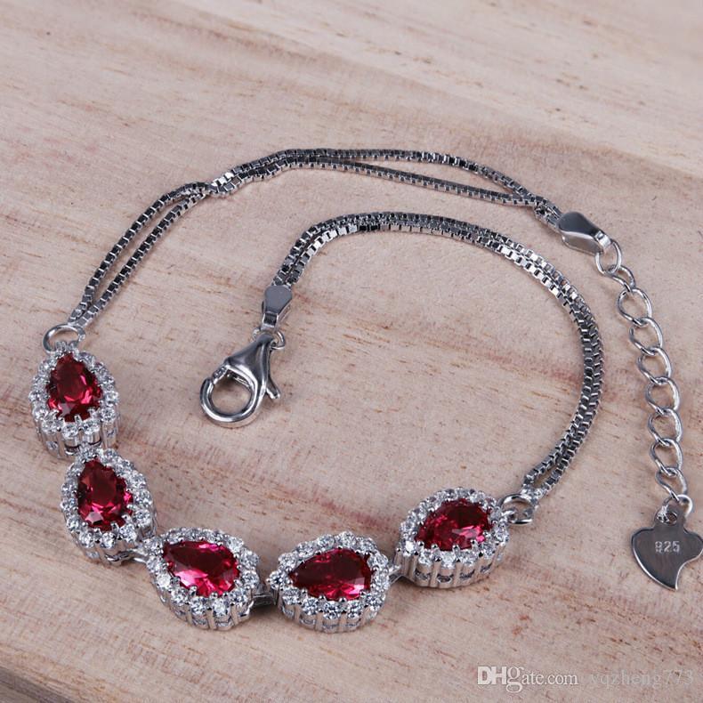 여자의 패션 쥬얼리 925 스털링 실버 주얼리 세트 wome의 결혼 보석에 대한 보석 목걸이 팔찌와 귀걸이 쥬얼리 세트