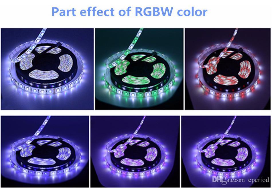 LED Strip Lights 5050 SMD RGB+White/Warm white DC12V with White PCB Flexible 5M Roll 300 Leds Ribbon IP65 Waterproof 100m