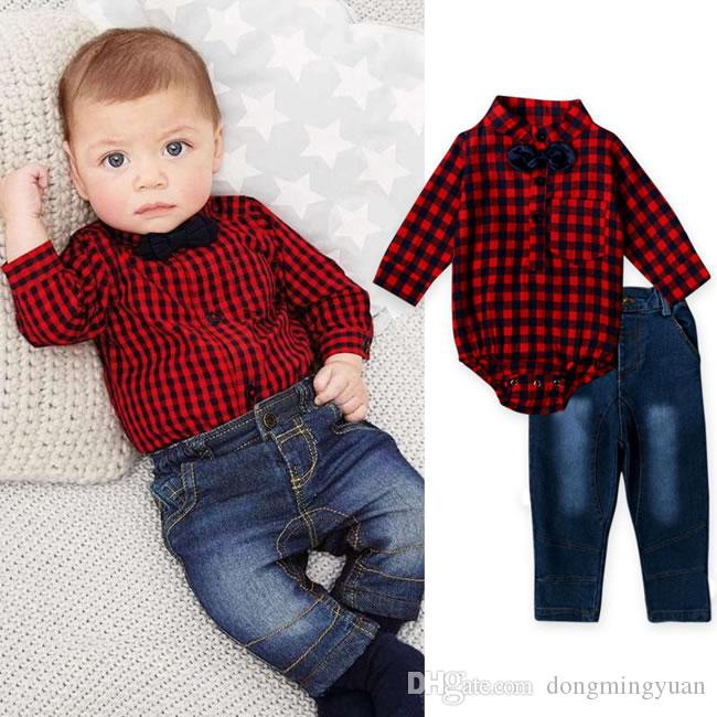 New arrival baby boy denim set clothes bow tie plaid shirt for Baby shirt and bow tie