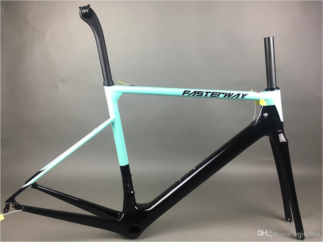 perfect color celeste blue with black FASTERWAY classic carbon road frameset UD weave carbon bike frame:Frameset+Seatpost+Fork+Clamp+Headset