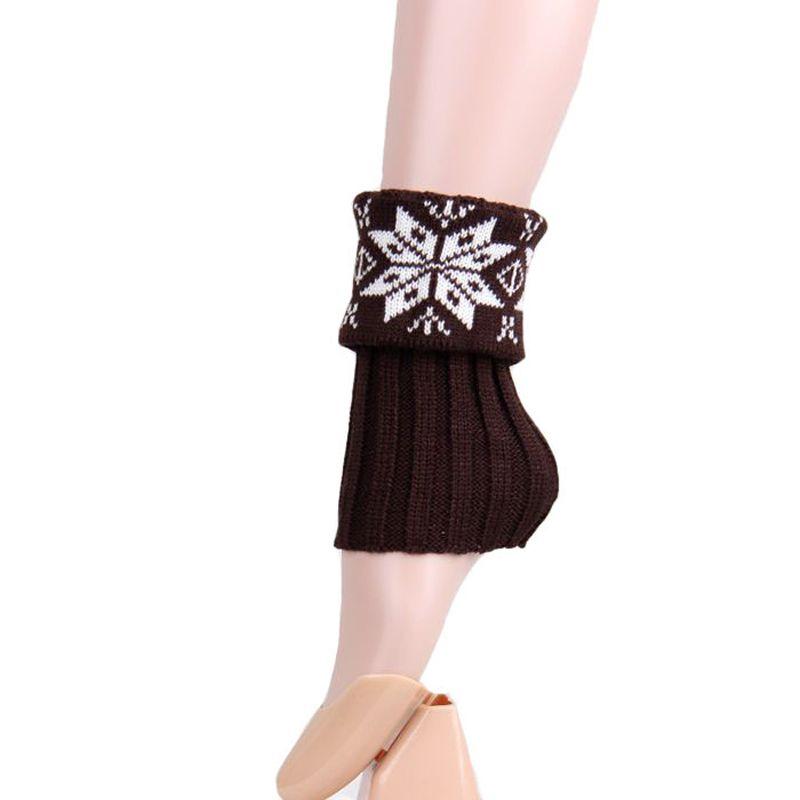 Women Christmas Snowflake Wool knitting Short Style Leg Warmer Boot Leg Cuffs Soft Laced Boot Socks
