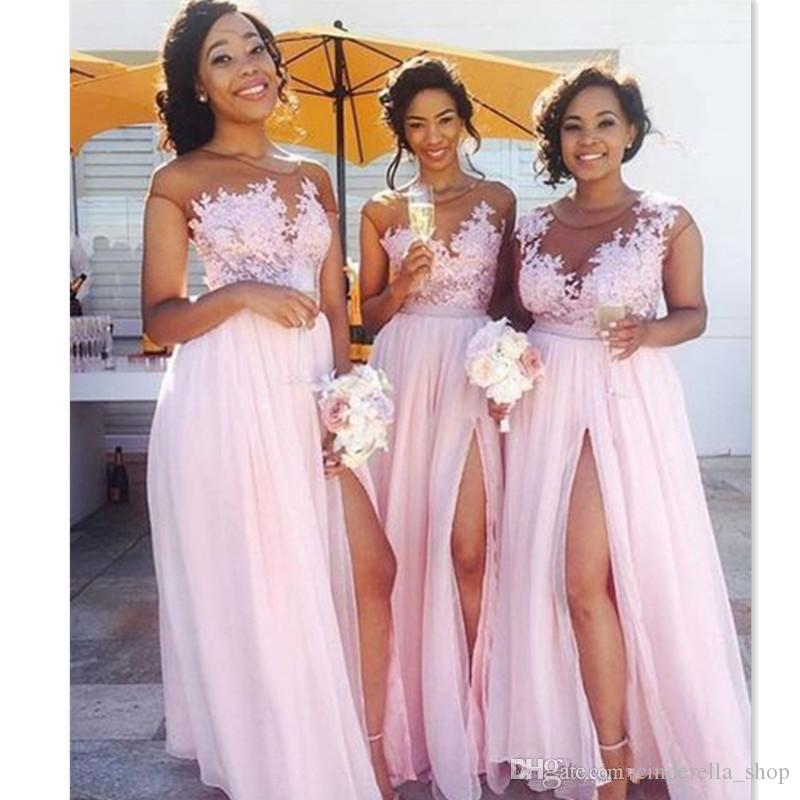 dcd7354e57e9 2018 New Designed Bridesmaids Dresses Split Sheer Neck Appliqued Chiffon  Jewel Wedding Guest Dresses African Celebrity Gowns Cheap Custom Bridesmaid  Dresses ...