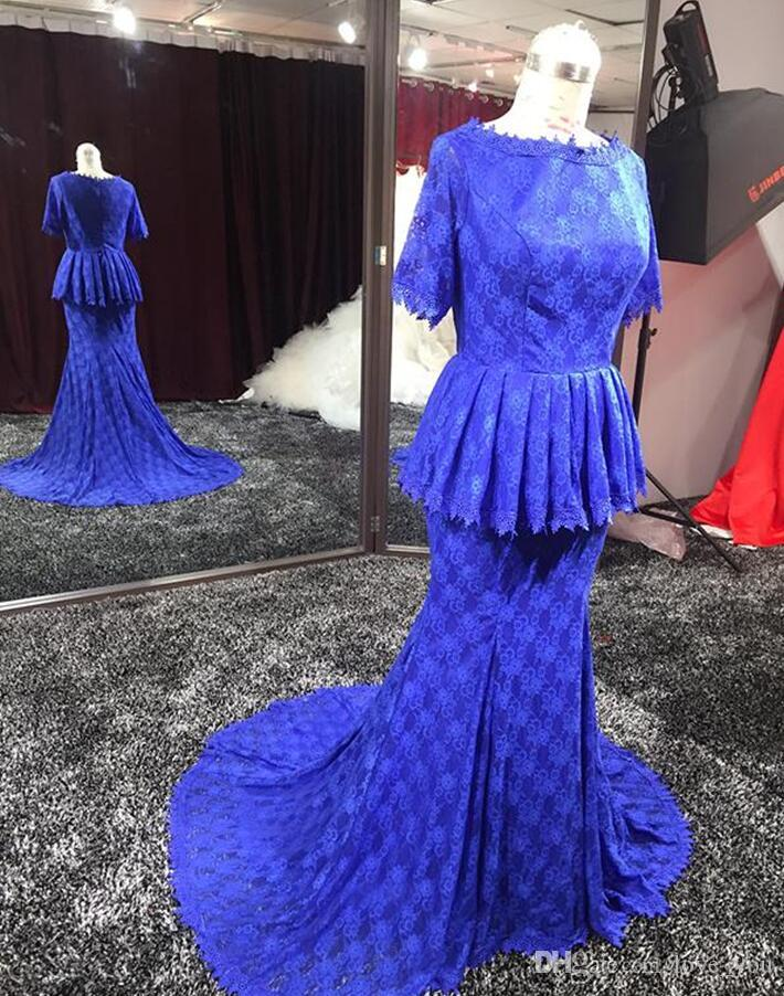 Real Image African Prom Dresses Nigeria Style Mermaid Formal Evening Dress Jewel Short Sleeve Elegant Evening Gown Lace Gowns robe de soiree