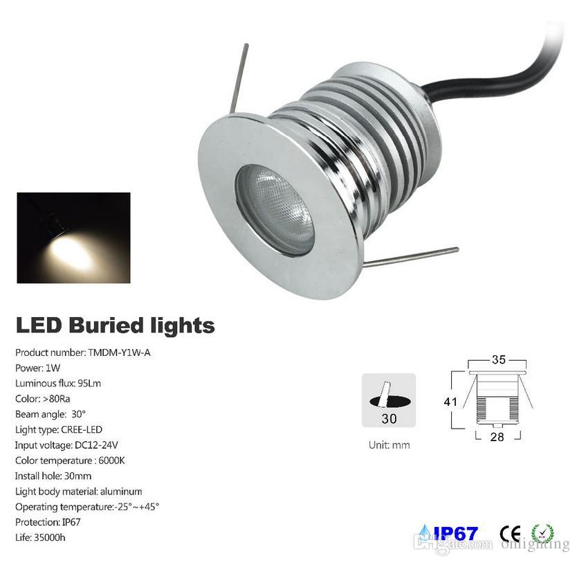 12 unids / lote 1 W LED de luz subterránea IP67 Buried empotrada en el suelo lámpara al aire libre DC12V 24V led luces empotradas en el suelo uplight