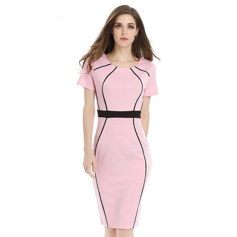 5a3952965 Compre Bodycon Vestidos De Oficina Elegante Vestido De Trabajo De Carrera  Remiendo Geométrico Vestido De Manga Corta Túnica Delgada Vestido Formal A   24.63 ...