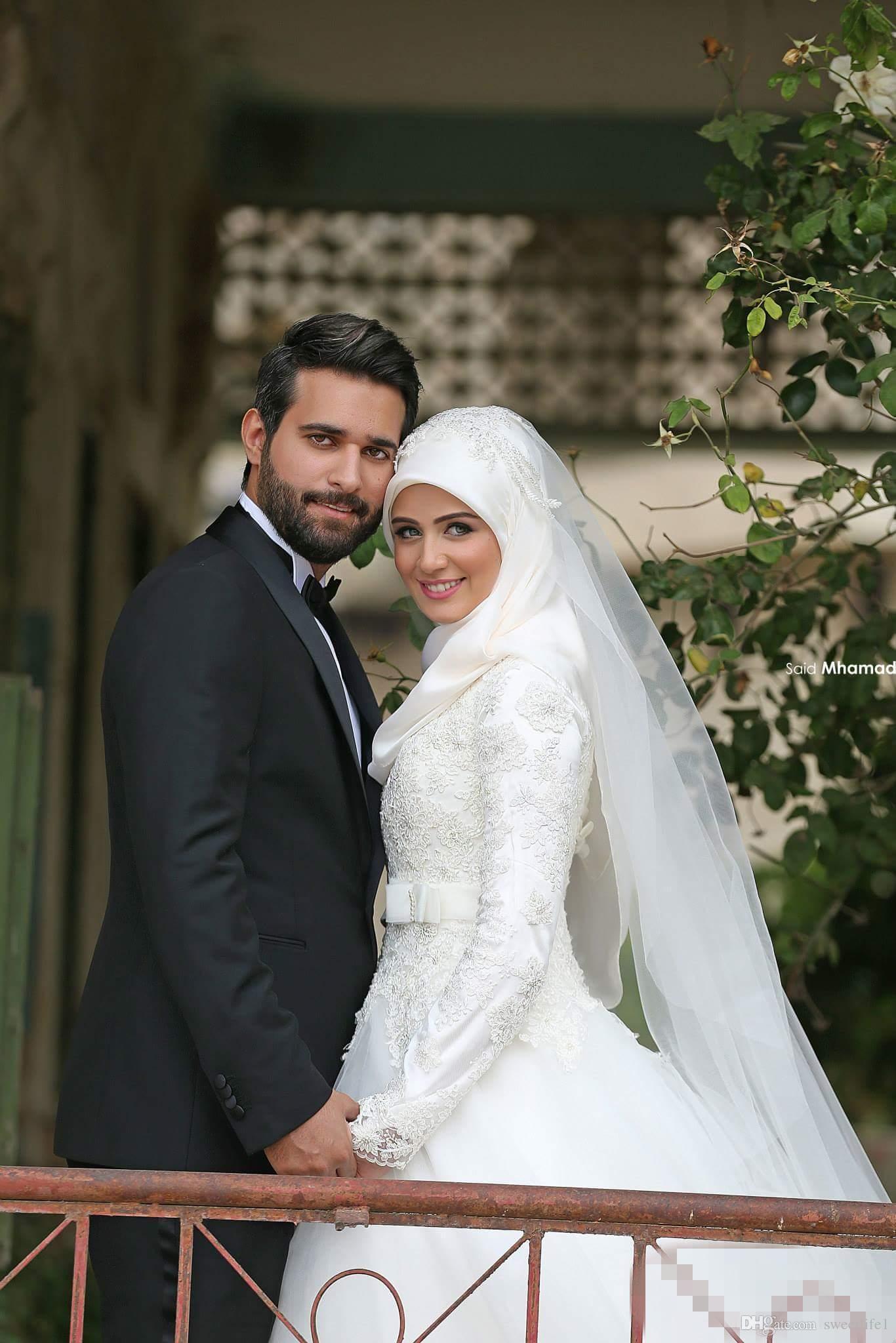 2019 Arabisch Islamisch Muslim A Line Brautkleider Sagte Mhamad Spitze Winter Brautkleider Mit Langen Ärmeln High Neck Midwest Pakistanischen Abaya