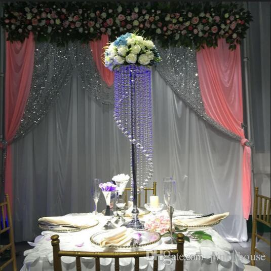 Elegant Tall Crystal Wedding Flower Stand Table Centerpieces Water Fall With Acrylic