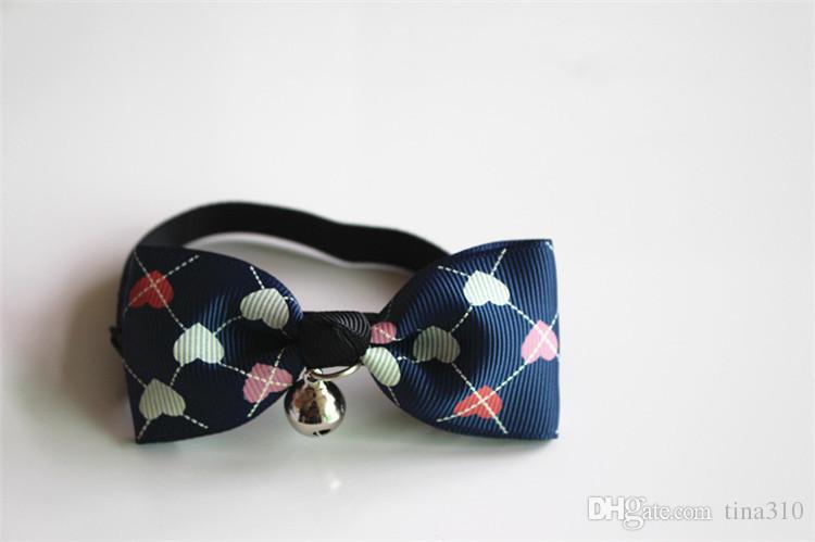 Pet Dog Neck Tie Cat Dogs Bow Ties Bells Headdress Adjustable Dog Collars Leashes Apparel Pet decoration IB239