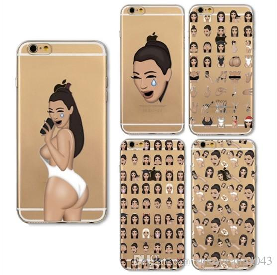 new style 73e42 07d17 Phone Case for iphone X iPhone 8 7 6 6s plus 5s 5E Case Custom Design Soft  TPU Protective Back Cover painting emoji Expression Case GSZ002