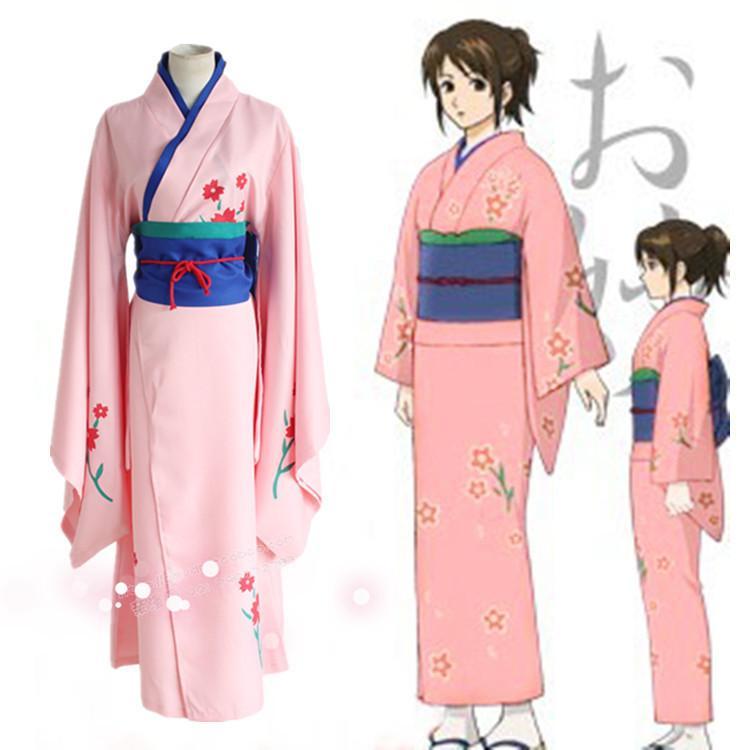Japanese Anime Traditional Women White Furisode Kimono ... |Traditional Kimono Anime