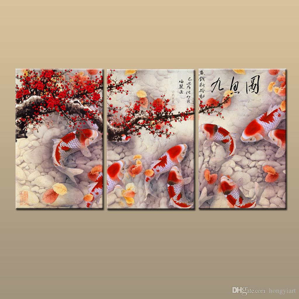 2019 gift giclee print home art wall decor chinas wind feng shui fish koi painting animal printed on canvas modern for living room abc285 from hongyiart