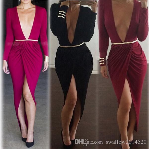 2016 Autumn European and American fashion deep V-neck sexy ladies elegant folding dress with belt factory price