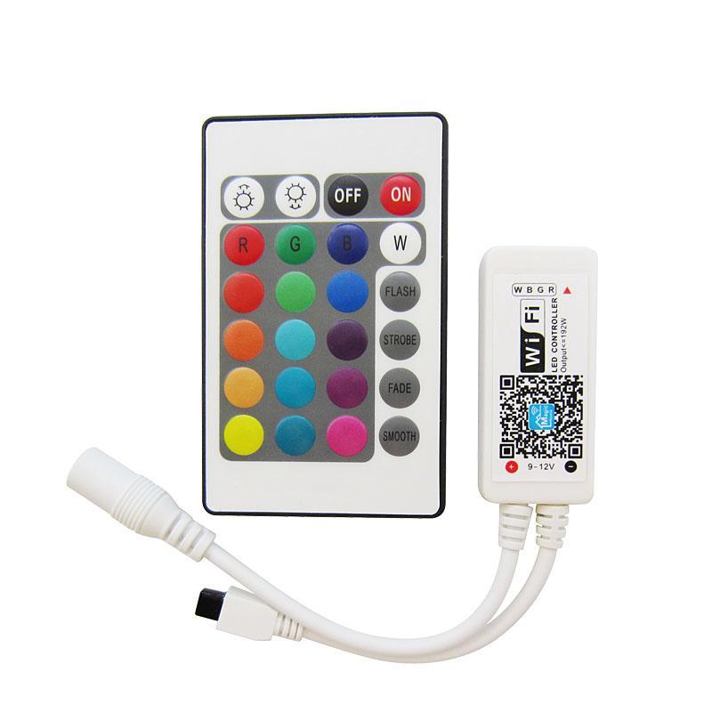 DC9-12V 16 миллионов цветов Wi-Fi LED RGB / RGBW контроллер + ИК 24 ключа дистанционного управления для светодиодные полосы света 25 компл. / Лот