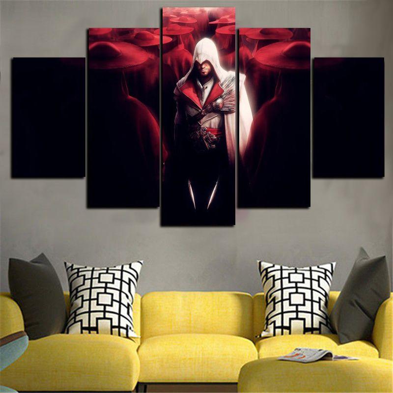 5 Panel Wall Art 2017 5 panel wall art assassins creed game painting living room