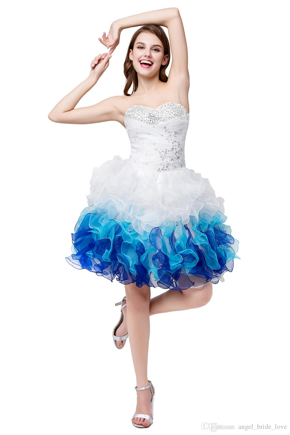 2017 Lovely In Stock White Blue Sweetheart Organza Cheap Short Homecoming Dresses Sweetheart Graduation Dresse Party Prom Formal Gown QS1060