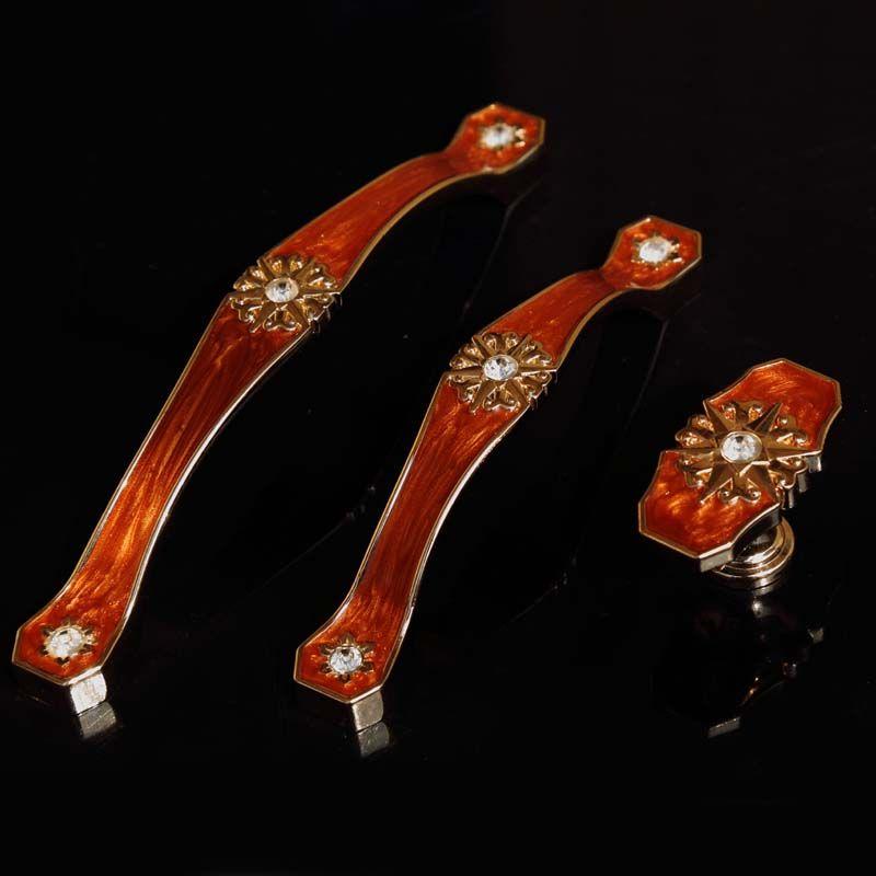 96mm 128mm European Fashion Deluxe Gold Dresser Kitchen Cabinet Door Handles Amber Red Glass Crystal Drawer Cupboard Knobs Pulls