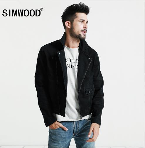 Simwood Black Denim Jacket Men 2017 Autumn New Slim Fit Zippers