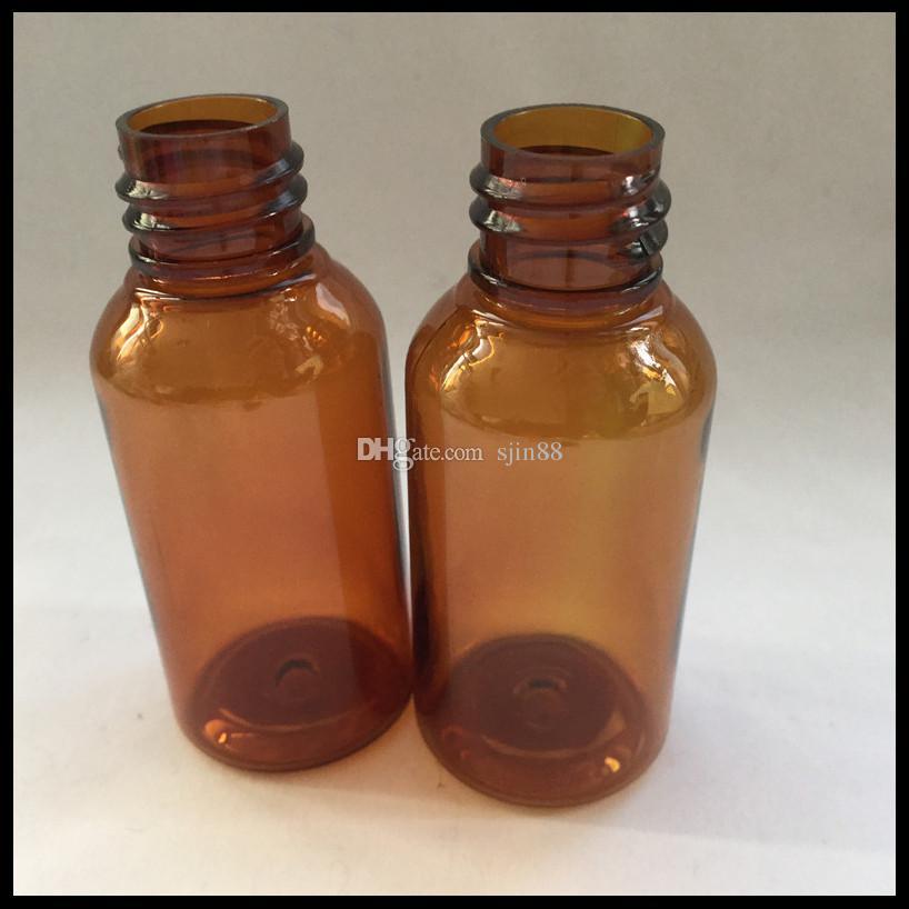 E sigara için çocuklardan uzak kap ve cam damlalık şişesi ile 30ml amber plastik e sıvı şişe