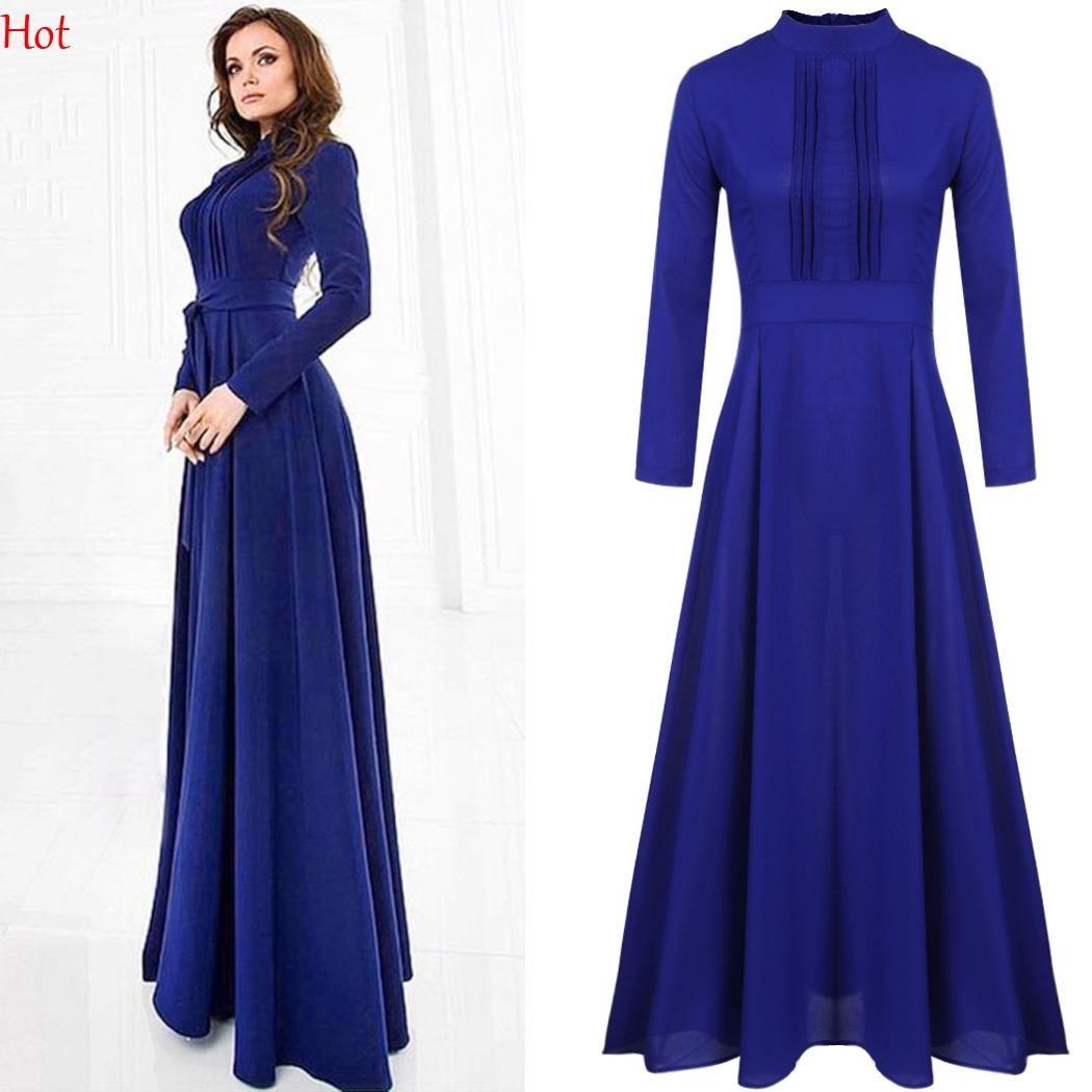 Grosshandel Frauen Damen Chiffon Kleid Langarm Hight Taille A Linie