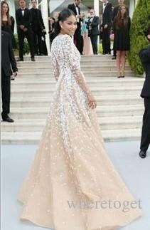 Zuhair Murad Champagne Tulle Pageant Promi-Kleider mit langen Seeves Illusion V-Ausschnitt Spitze applique 2019 Winter-formales Abend-Abschlussball-Kleider