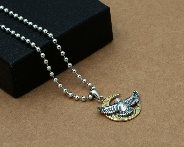Brand new 925 sterling silver jewelry vintage style necklace pendant eagle and moon for men and women wholesale customized