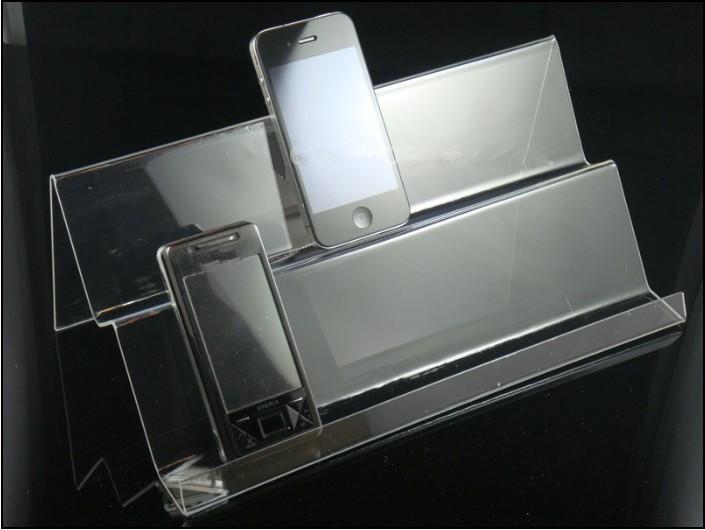 Freies Verschiffen / klar Acryl Mobiler Handy Display Ständer Halter Racks Doppelschichten Lange Regal