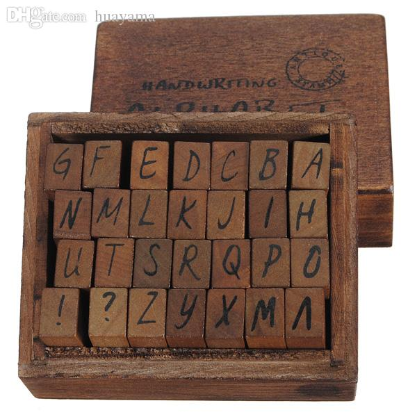 Wholesale New Arrival Capital Letter Alphabet Stamp Box Hand Writing Antique Wooden Rubber British Postage Stamps Discount