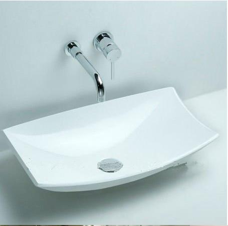 Rectangular Bathroom Solid Surface Stone Counter Top Vessel Sink Fashionable Cloakroom Matt White Wash Basin RS3828