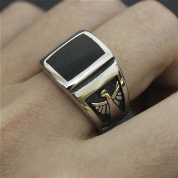 316L bijoux en acier inoxydable Mens Bague en argent casque de mode anneau Bouclier de pierre noire